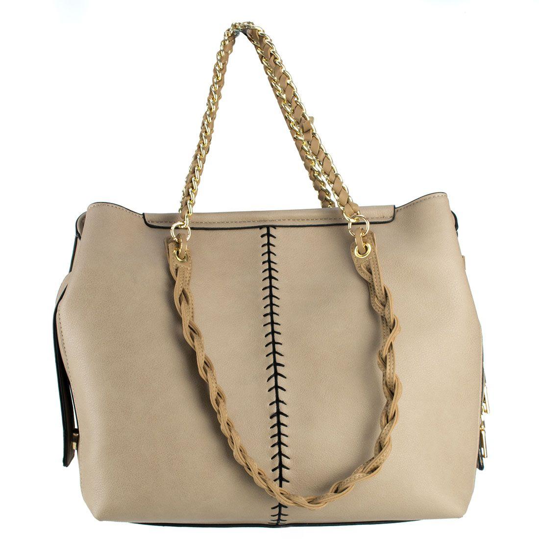 18a652a6057 Μπεζ τσάντα με πλεκτό λουράκι