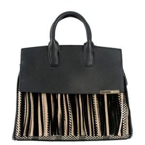 4f4e715ac4 Migato · Μαύρη τσάντα ψαθί με κρόσια
